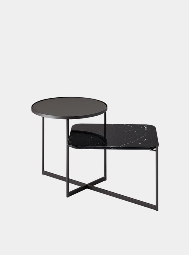 Etched Glass / Black Marble Mohana Side Table 2