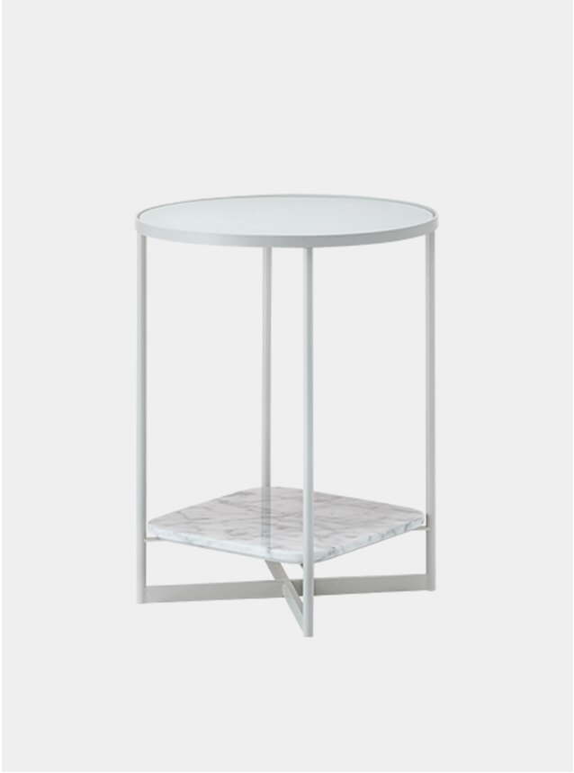 Etched Glass / White Marble Mohana Side Table