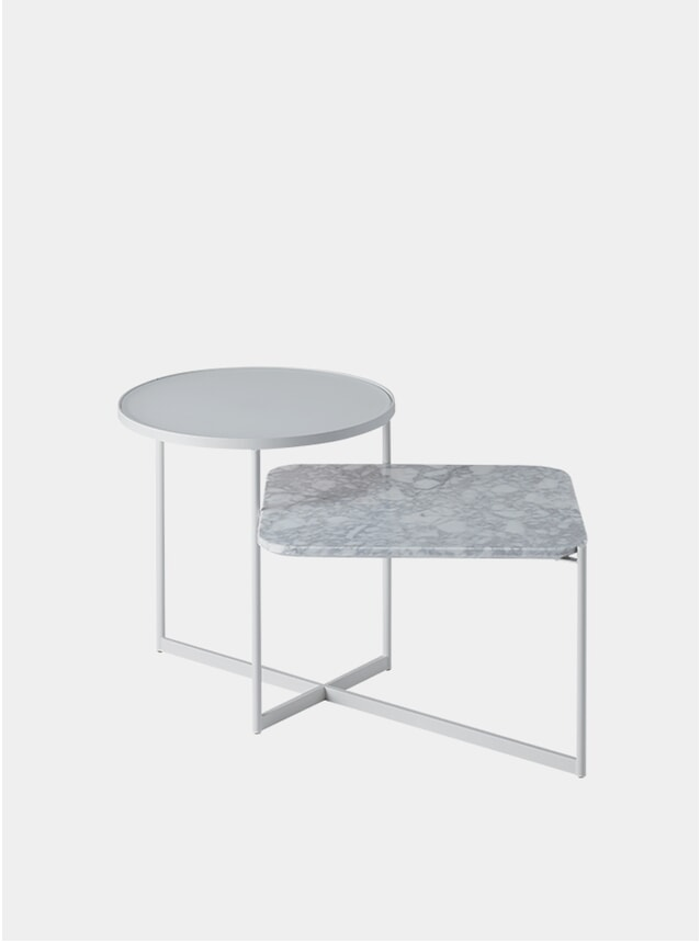 Etched Glass / White Marble Mohana Side Table 2