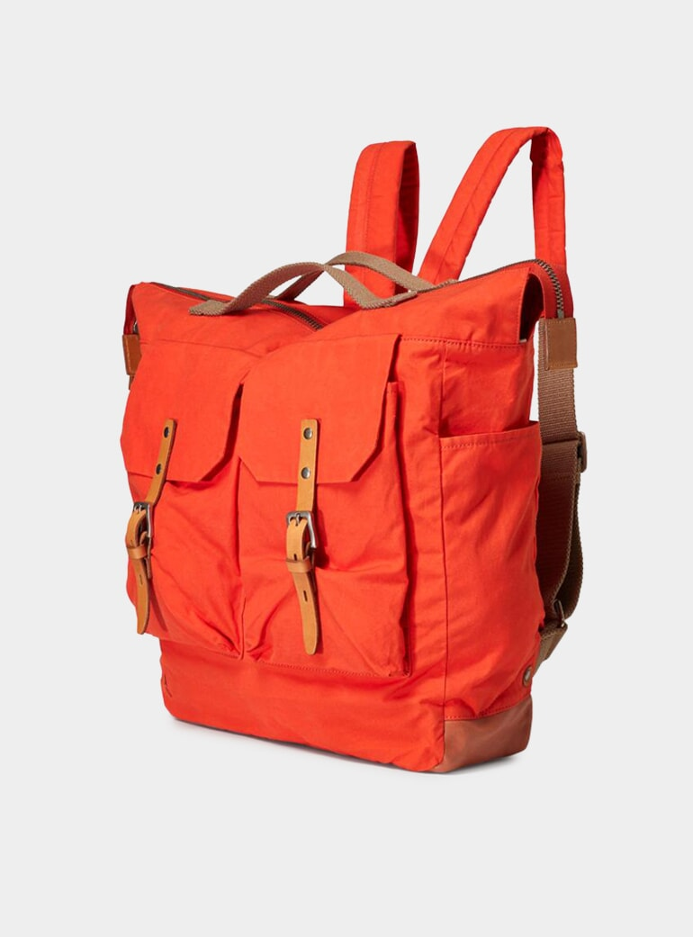 Ally Capellino Flame Orange Frank Waxed Utility Backpack