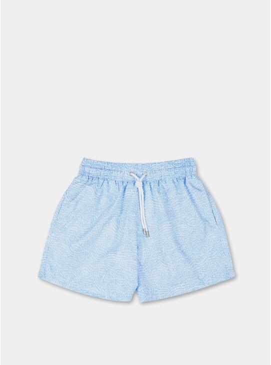 Light Blue Ecailles Swim Shorts