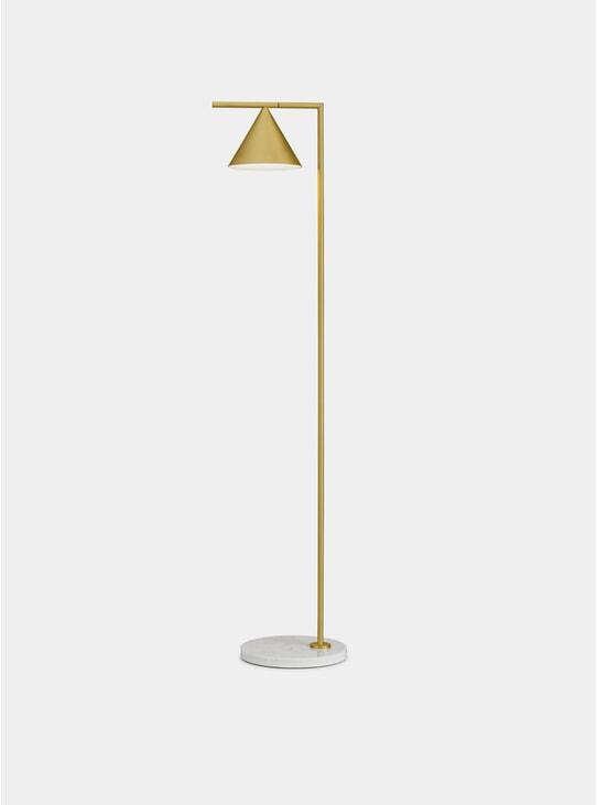 Brushed Brass / White Marble Captain Flint Floor Lamp