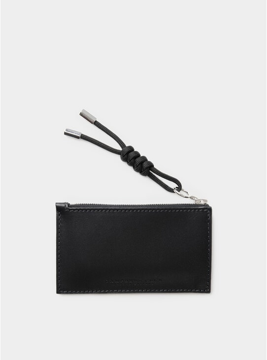 Black Simple Coin Pouch with Puller