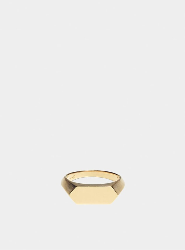Gold Hex Signet Ring