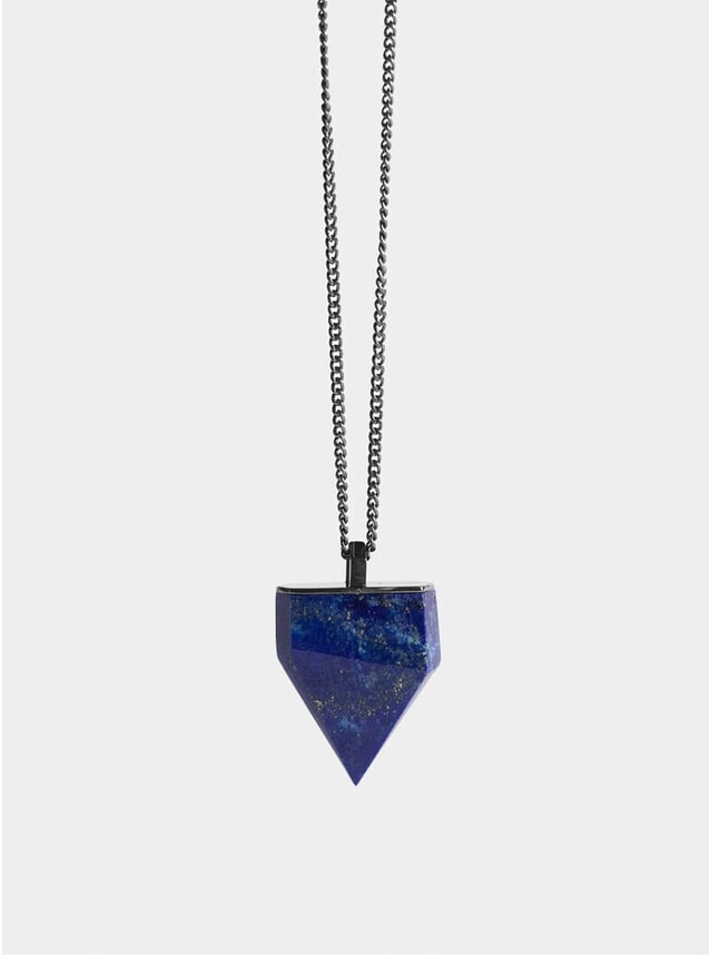 Ruthenium & Lapis Shark Tooth Pendant