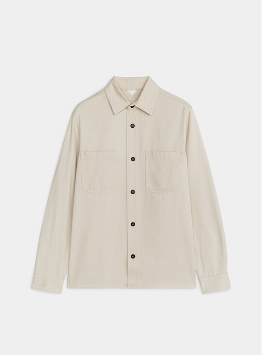Beige Cotton Twill Overshirt