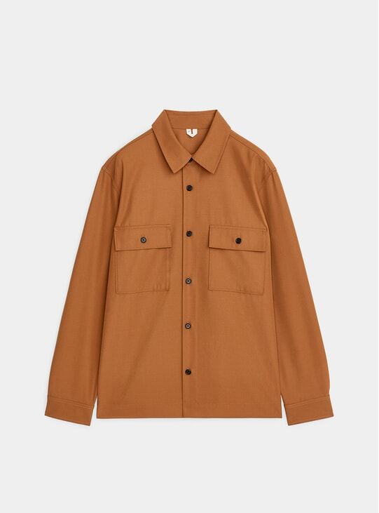 Brown Wool Blend Overshirt