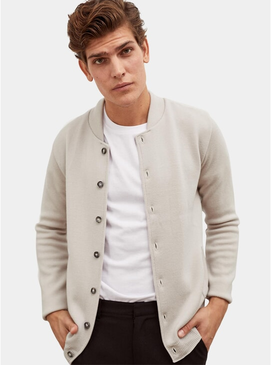 Cream Wool Bomber Jacket