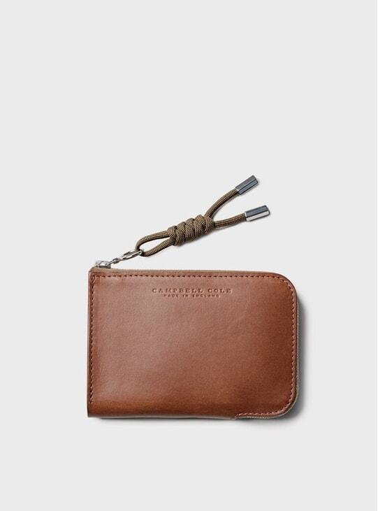 Tan Simple Zip Corner Wallet