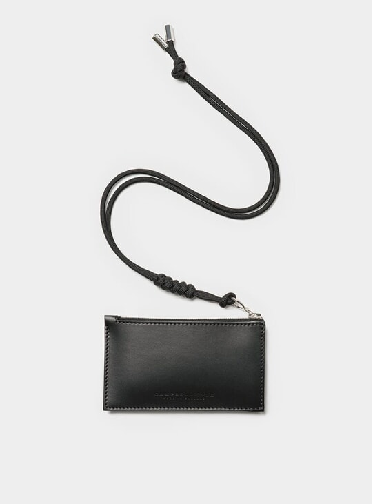 Black Simple Coin Pouch w/ Lanyard