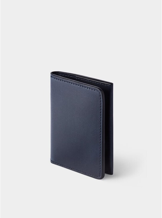 Navy Swanfield Leather Card Wallet