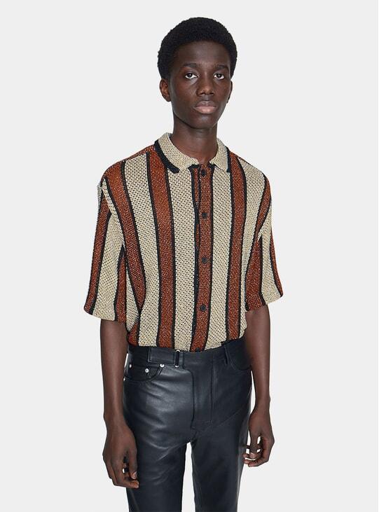 Brown / Gold Wes Crochet SS Shirt