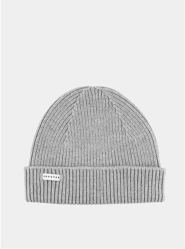 Light Grey Ribbed Merino Beanie