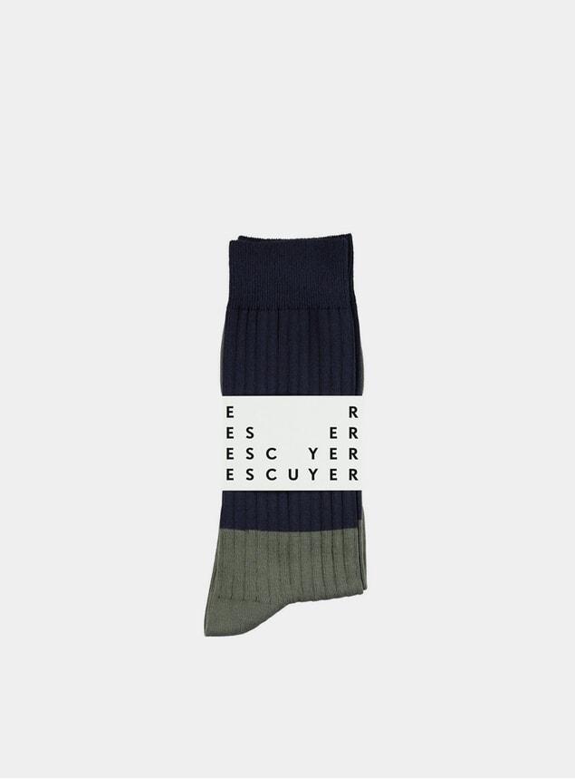 Mood Indigo / Thyme Colour Blocks Socks