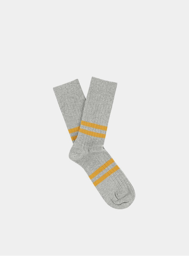 Mustard / Grey Melange Striped Socks