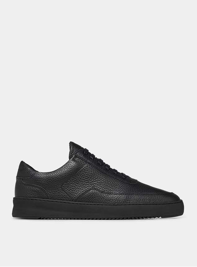 All Black Mondo Ripple Grain Sneakers