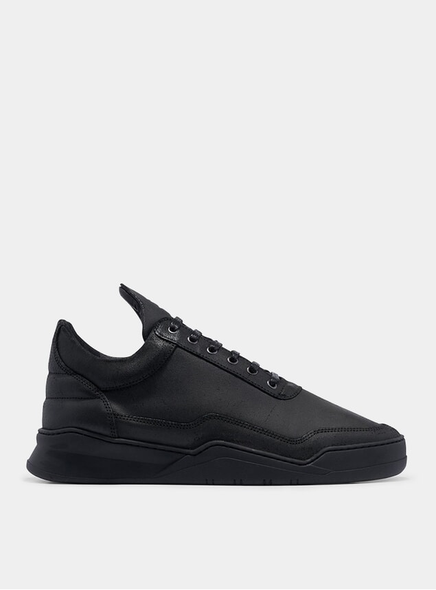 All Black Waxed Suede Low Top Ghost Sneakers