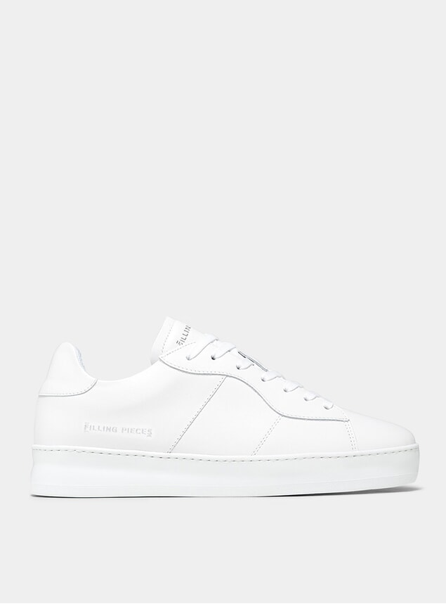 All White Low Plain Court Sneakers