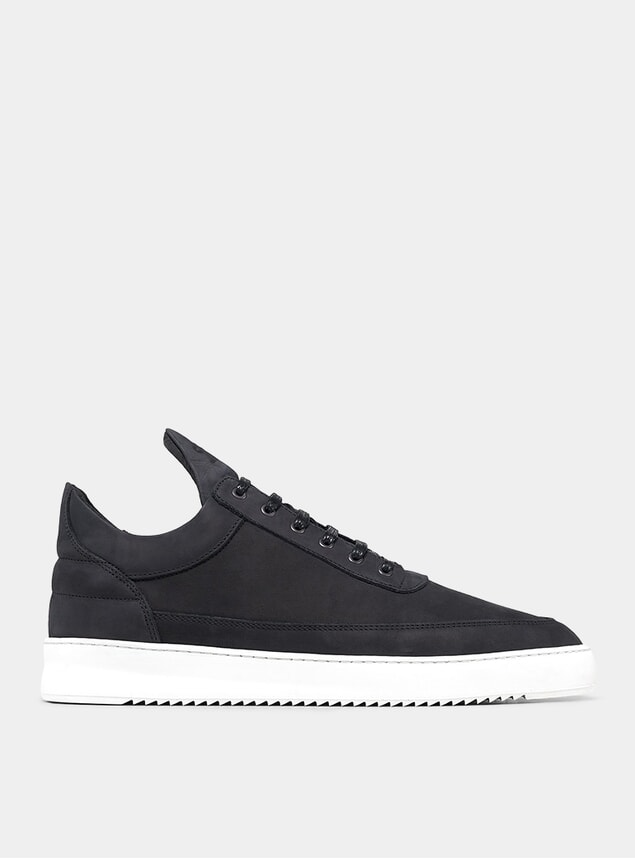 Basic Black Low Top Ripple Sneakers