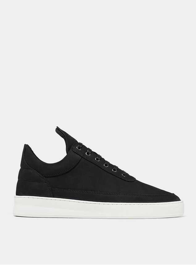 Black Low Top Plain Lane Nubuck Sneakers