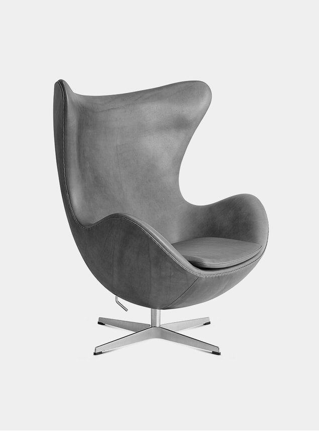 Concrete Embrace Leather Egg Lounge Chair