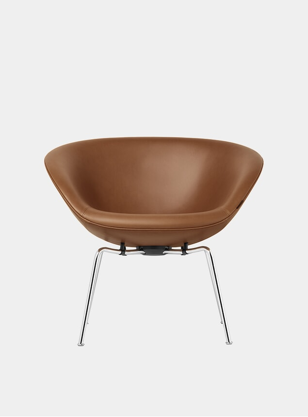 Walnut Grace Leather Pot Chair