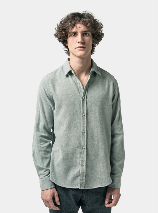 Dried Green Midweight Flannel Shirt