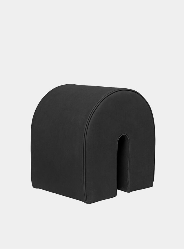 Black Leather Curved Pouf