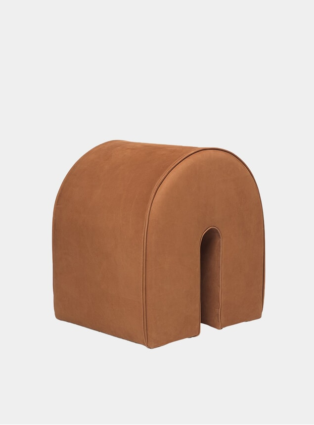 Cognac Brown Leather Curved Pouf
