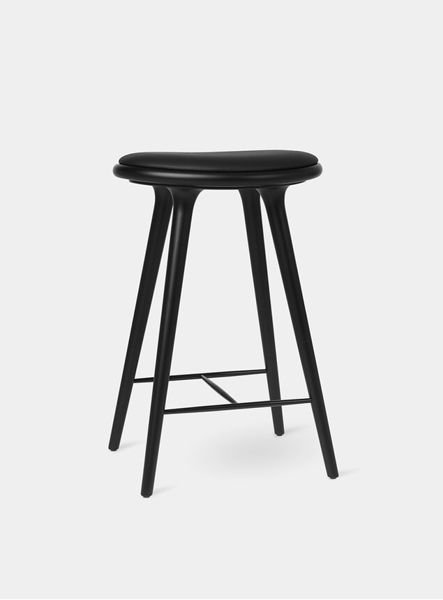 69cm Black Stained Oak Beech Stool