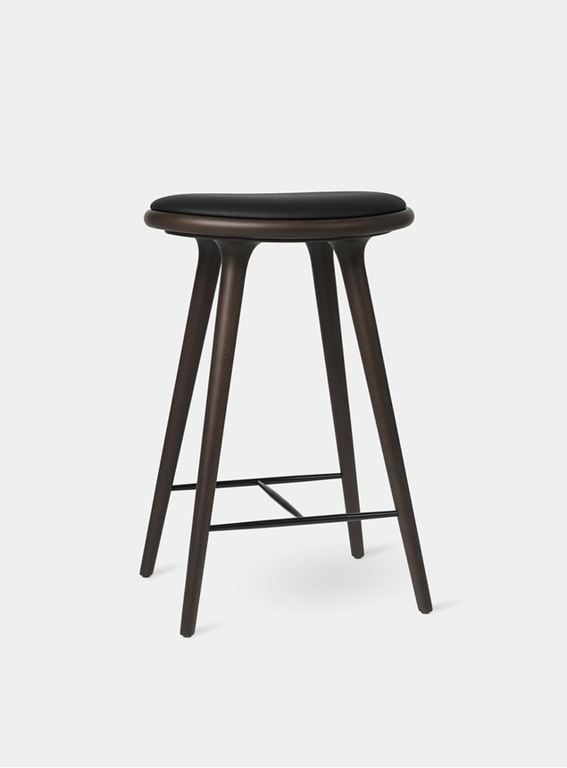 74cm Dark Stained Beech High Stool