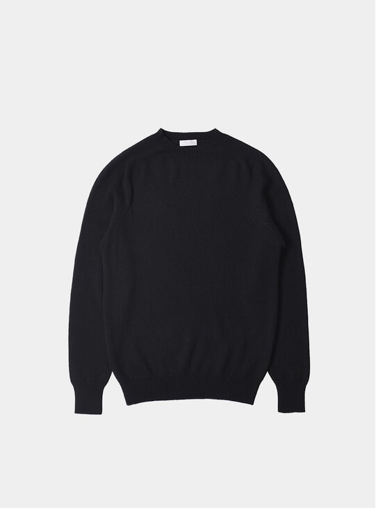 Black Cotton Cashmere Saddle Neck Crew