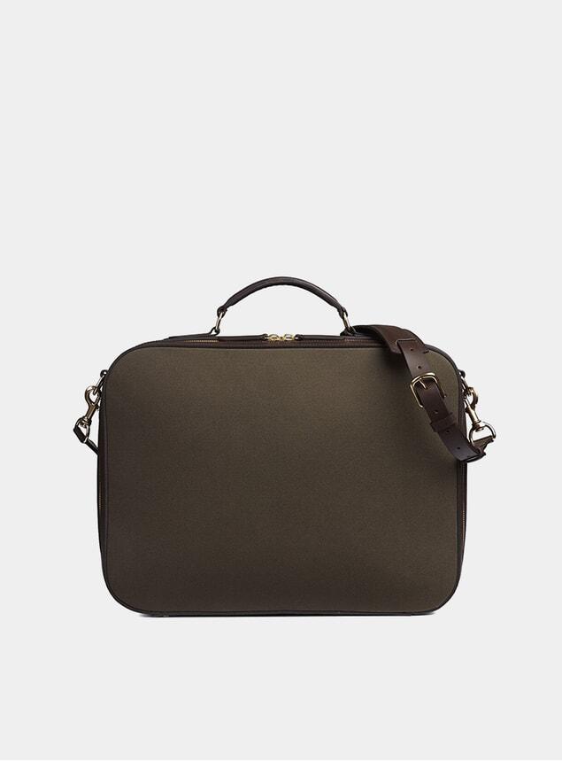 Army / Dark Brown M/S Suitcase