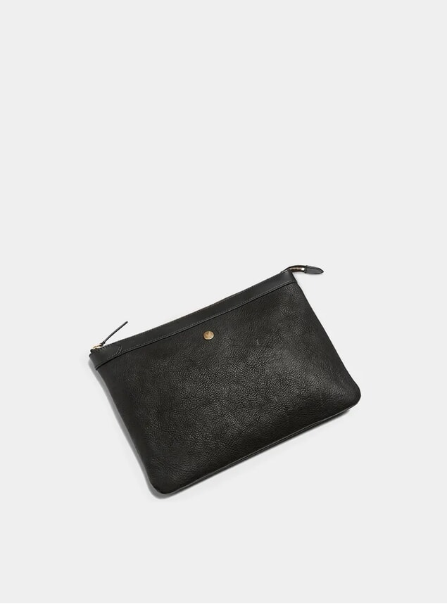 Black / Black Large Leather Pouch