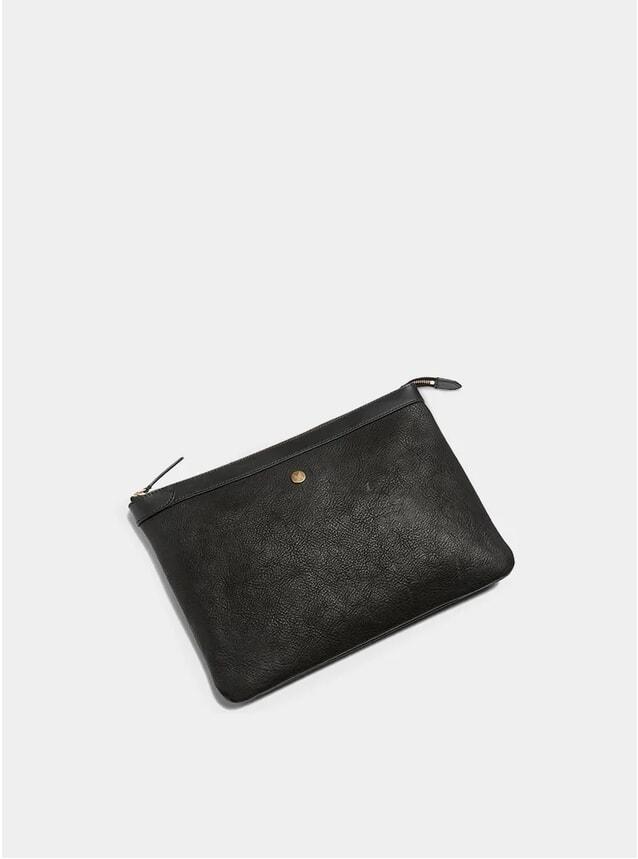 Black / Black Large Leather Pouch