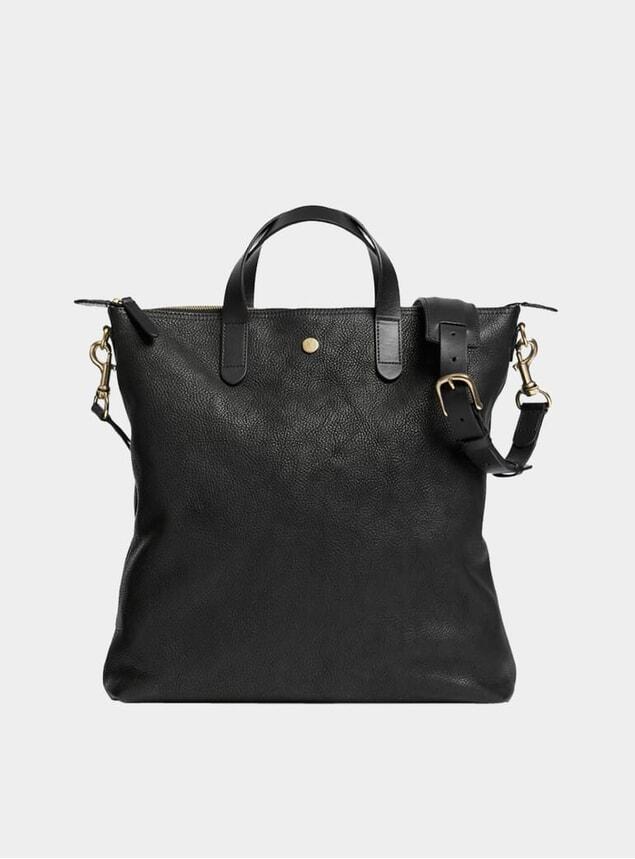Black / Black Leather M/S Shopper Tote