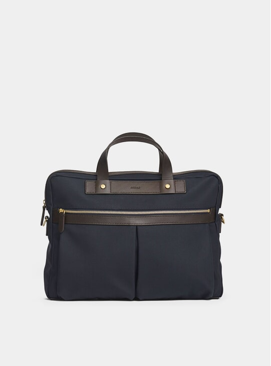 Navy / Dark Brown M/S Office Bag