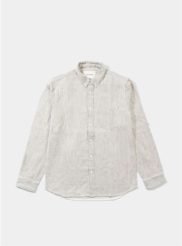 Beige Striped Herringbone Shirt