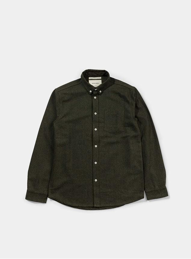 Green Wool Herringbone Shirt