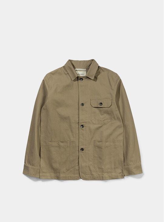 Khaki Herringbone Utility Jacket