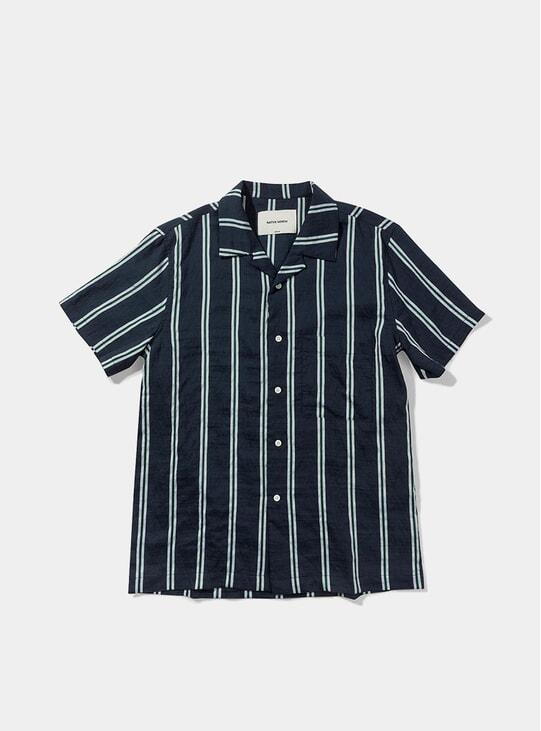 Navy Striped Silk Shirt