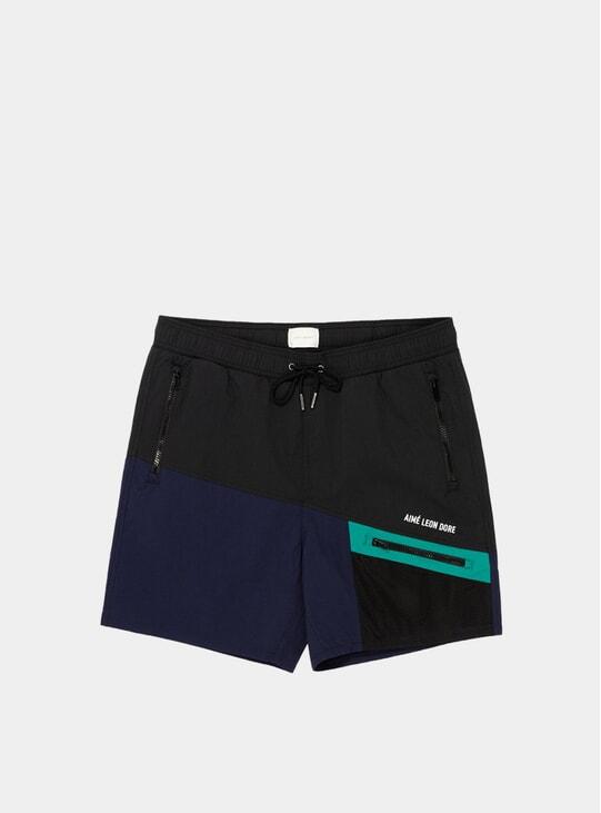 Navy Colour Blocked Hiking Shorts