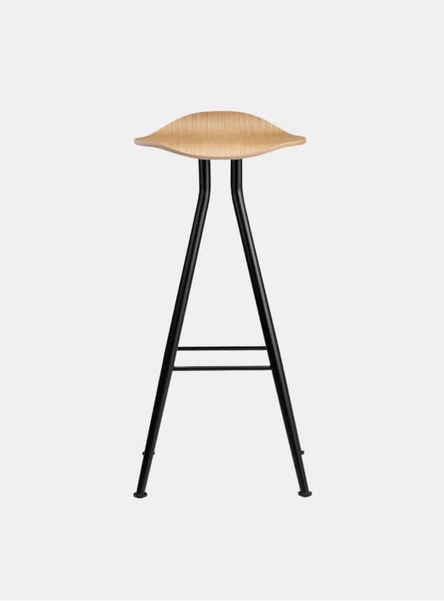 Black / Natural Oak Barfly Bar Chair