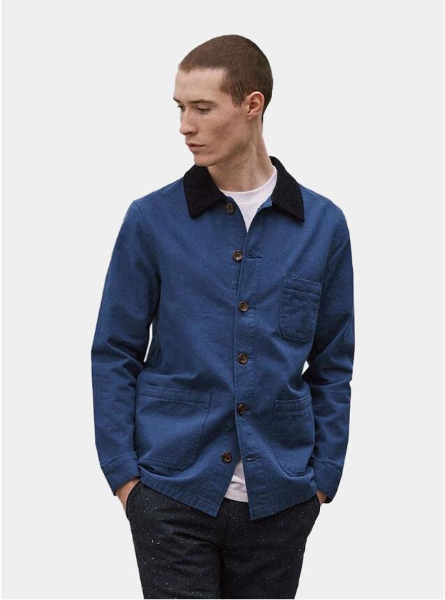 Blue Twill w/ Cord Trim Worker Jacket