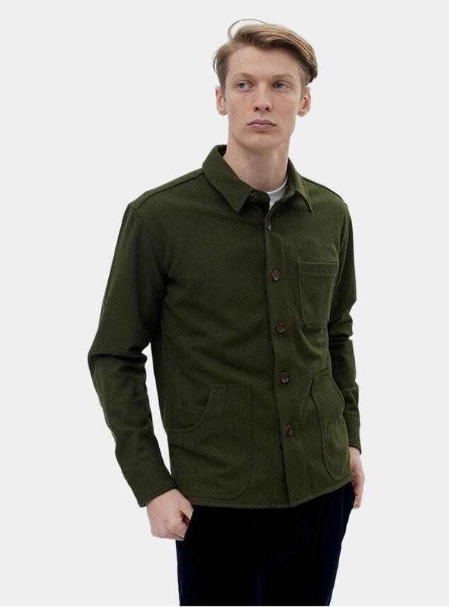 Green Melton Blanket Overshirt