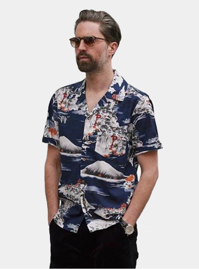 Navy Fuji Pagoda Cuban Short Sleeve Shirt