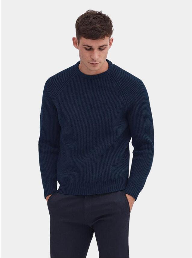 Navy Marle Wool Rib Crewneck
