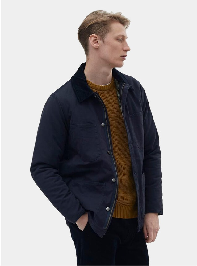 Navy Trill Cord Collar Chore Jacket