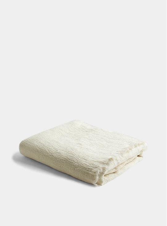 Cream Linen Crinkle Throw