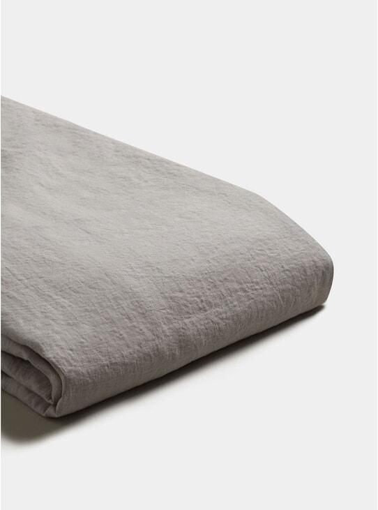 Dove Grey Linen Single Duvet Cover Set
